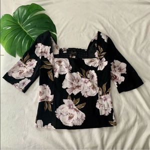 NWT Free Press Floral Square Neck Smocked Crop top